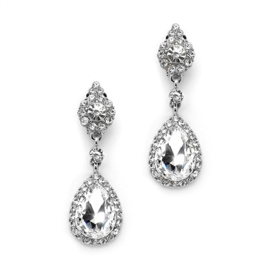 Mariell Crystal Earrings with Teardrop Dangles 4532E-S