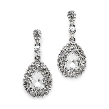 Mariell Dimensional Crystal Dangle Earrings for Brides or Proms 4534E-CR-S