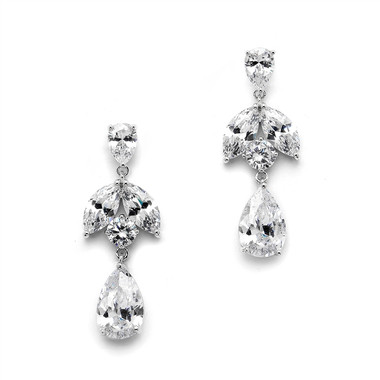 Mariell Great Value CZ Drop Earrings with Pearls and Marquise  4537E