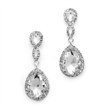 Mariell Top-Crystal Teardrop Earrings with Braided Top  4547E-CR-S