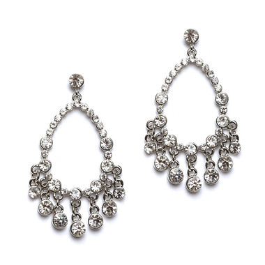 Mariell Open Crystal Chandelier Earrings with Round Drops 4520E-CR-S