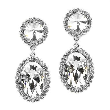 Mariell Bold Oval Drop Earrings with Rivoli Studs 4521E-CR-S