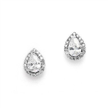 Mariell 1/2 Ct. CZ Pear-Shaped Studs with Pave Frames 4507E-S