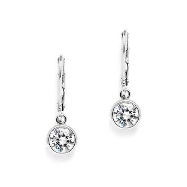 Mariell 1.0 Carat Bezel Set CZ Drop Bridal Earrings 4501E-S