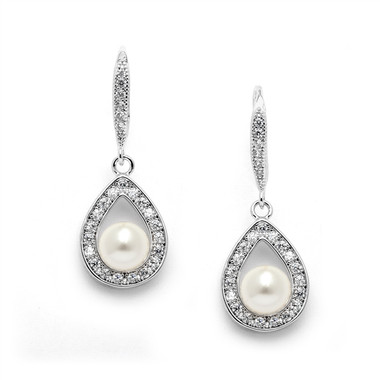 Mariell Pave CZ Wedding Earrings with 5mm Pearls 4502E-I-S