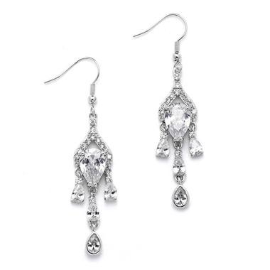Mariell Brilliant CZ Pear Chandelier Earrrings with Bezel Set Teardrops 4503E-S