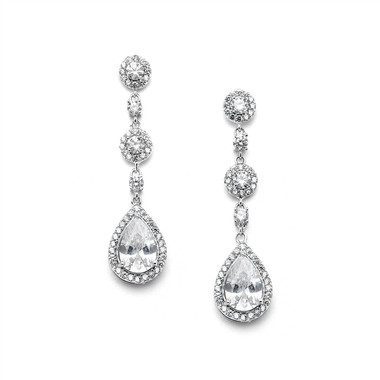 Mariell Pearl Shaped Drop Bridal Earrings with Micro-Pave CZ 4505E-S