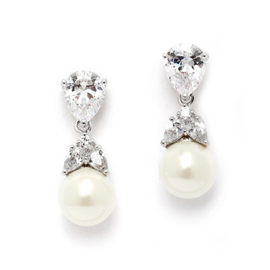 Mariell CZ Bridal Clip Earrings with Mixed Pears and Pearl Drops 4490EC-I-S