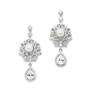 Mariell Luxurious Micro Pave CZ Wedding Earrings with Scrolls and Ivory Pearls 4506E-I-S