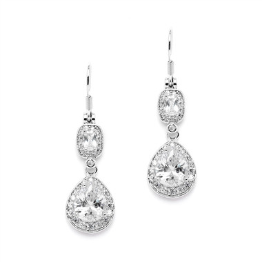 Mariell Luxurious Micro CZ Earrings with Graceful Pears and Delicate Emerald Cut Dangles 4486E-S