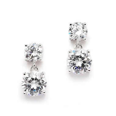 Mariell Cubic Zirconia Drop Earrings with 1/2 Ct. Studs and 2.0 Ct. Drops 4491E-S