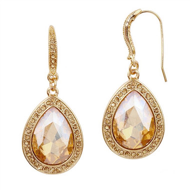 Mariell Champagne Crystal Teardrop Earrings with Gold Pave Accents 4247E-CH-G