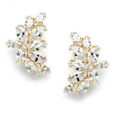 Mariell Shimmering Cubic Zirconia Marquis Cluster Gold Earrings 3598E-G