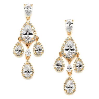 Mariell Petite Gold Cubic Zirconia Chandelier Earrings with Pear-Shaped Halo Teardrops 4555E-G