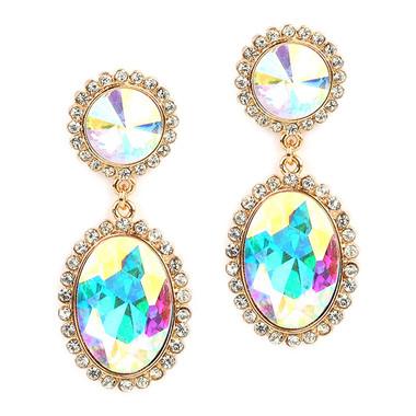 Mariell  Bold Iridescent Oval Drop Earrings with Rivoli Studs 4521E-AB-G