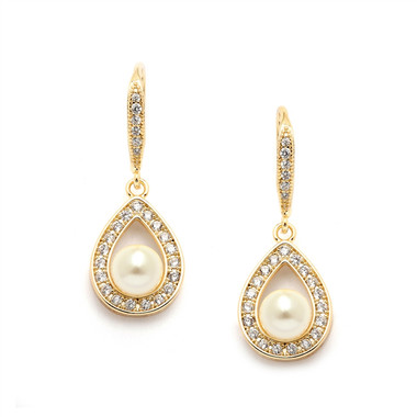 Mariell Pave CZ Bridal Earrings with 5mm Pearls 4502E-I-G