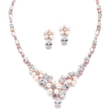 Mariell Ravishing Rose Gold Freshwater Pearl and CZ Statement Necklace and Earrings Set 4430S-I-RG