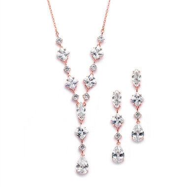 Mariell Glamorous Rose Gold Mixed Cubic Zirconia Wedding Necklace & Earrings Set 3564S-RG
