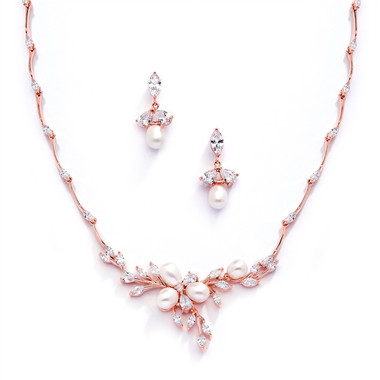 Mariell Rose Gold and Freshwater Pearls in CZ Leaves Neck Set 3041S-RG