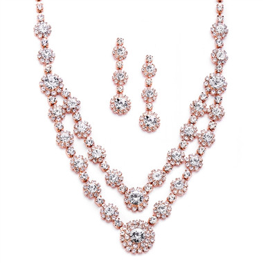 Mariell Regal Rose Gold Two Row Rhinestone Neck Set 3228S-CR-RG
