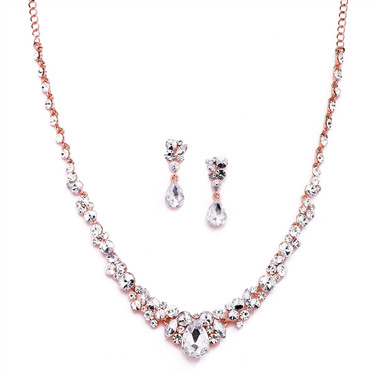 Mariell Regal Rose Gold Crystal Bridal or Prom Necklace & Earrings Set 4192S-RG