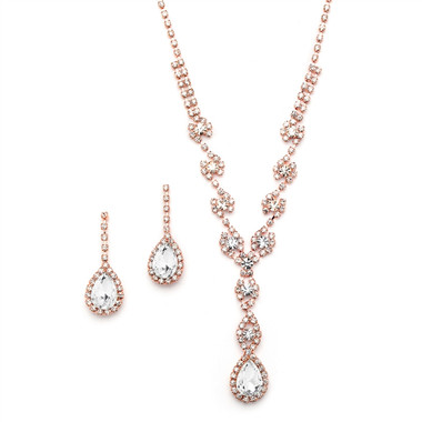 Mariell Dramatic Rhinestone Prom or Wedding Necklace Set with Pear Drops 4231S-RG
