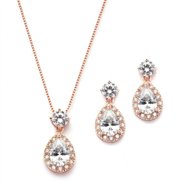 Mariell Brilliant CZ Halo Pear Shaped Rose Gold Necklace and Earrings Set 4550S-RG