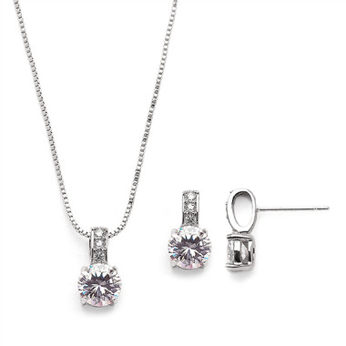 Mariell Delicate CZ Round-Cut Necklace and Earrings Set with Pave Top 4551S-S