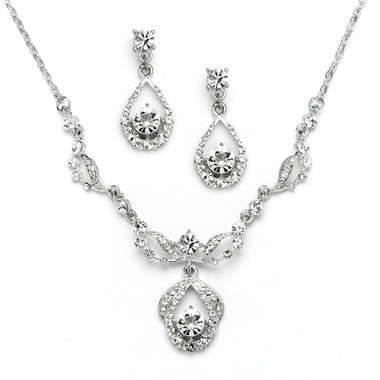 Mariell Vintage Crystal Necklace and Earrings Set - Antique Silver Plating 4554S-S