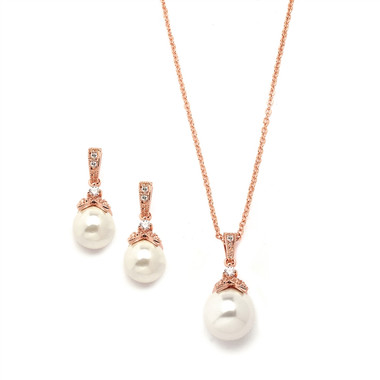Mariell Rose Gold Pearl Drop Necklace Set with Vintage CZ 3045S-RG