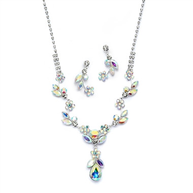 Mariell AB Crystal Rhinestone Vine Necklace and Earrings Set 4540S-AB-S