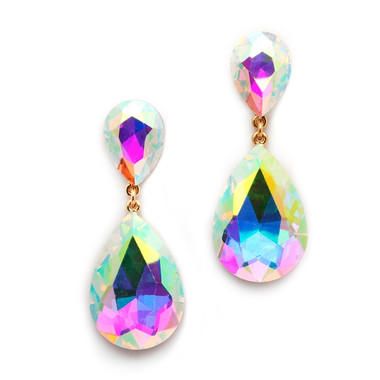 Mariell Aurora Borealis Crystal Teardrop Dangle Earrings 4531E-AB-G