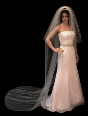 Noelle & Ava Collection -  108 Inches - Plain Edge Veil Cathedral with Blusher - Beads and Sequins