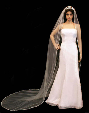 Noelle & Ava Collection -  108 Inches - Stylish Veil With Clear Beads, Pearl And Sequins - Cathedral