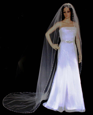 Noelle & Ava Collection -  108 Inches - Stylish Cathedral Veil With Alternating Swarovski Crystals And Bugle Bead Leaves Adorned Along Shiny Bead Waves, With Rhinestone Accents
