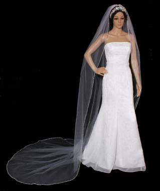 Noelle & Ava Collection -  108 Inches - Cathedral Veil With Rhinestone, Pearls, Bugle Beads And Seed Beads