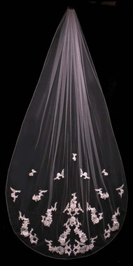 Noelle & Ava Collection -  108 Inches - French Lace Cathedral Veil Accented With Rhinestones, Pearls, Finished Edge