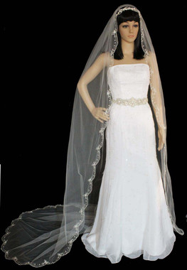 Noelle & Ava Collection -  108 Inches - Modern Embroidered Cathedral Veil With Marquise, Rhinestones, Pearls, And Bugle Beads Accent.