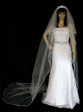 Noelle & Ava Collection -  120 Inches - Stunning Veil Of Double Twisting Line With Rhinestones, Beads, Pearls Sequins - Royal