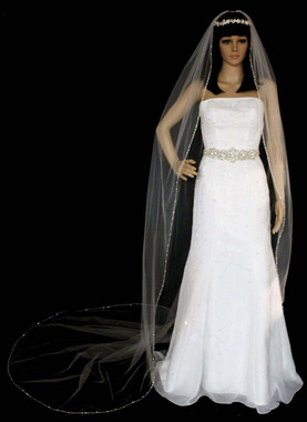 Noelle & Ava Collection -  108 Inches - Attractive Cathedral Veil With Swarovski Crystals And Double Twisted Shining Bugle Beads Along Silver Edge