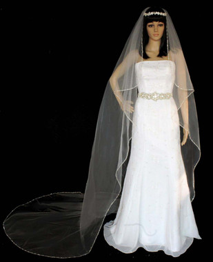 "Noelle & Ava Collection -  108 Inches - Sophisticated Designer's Veil. 24"" Center-Gathered Cathedral Of 72"" Width. Silver Edge, Crystals, Rhinestones And Triple Bugle Beads, Along Silver Edge - Angel Design - Cathedral"