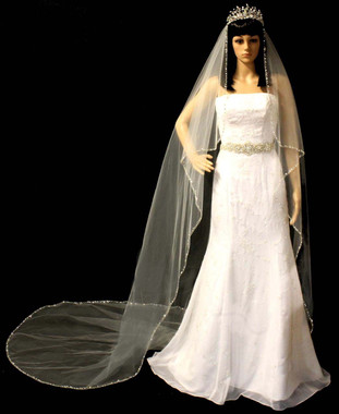 "Noelle & Ava Collection -  108 Inches - 24"" Center-Gathered On 72"" Width Extra 24"" Draping On Both Sides. Precious Beaded Veil With Large Crystals, Diamond Shape Rhinestones, Marquise Accent - Angel Cut Cathedral"