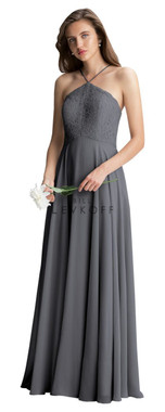 ill Levkoff Bridesmaid Dress Style 1409 - Quick Ship - Pewter - Corded Lace & Chiffon
