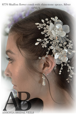 Ansonia Bridal 8770 - Shaffon Flower Comb With Rhinestone Sprays