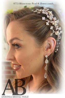 Ansonia Bridal 8772 - Rhinestone Pearl & Flower Comb