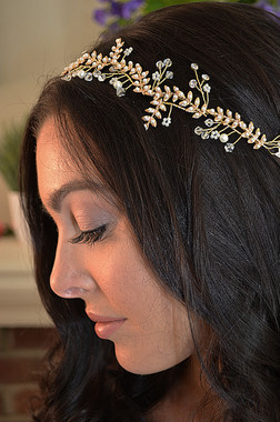Ansonia Bridal 8775 - Leaf Pearl Headband With Pearl & Rhinestone Sprays & Ivory Ribbon Ties