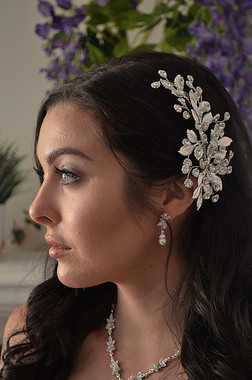 Ansonia Bridal 8777 - Beaded Flower Rhinestone Headpiece