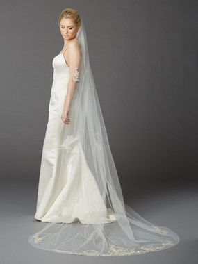 Cathedral Wedding Veil with Silver Embroidered Beaded Lace Appliques & Pencil Edge 4417V-I-S