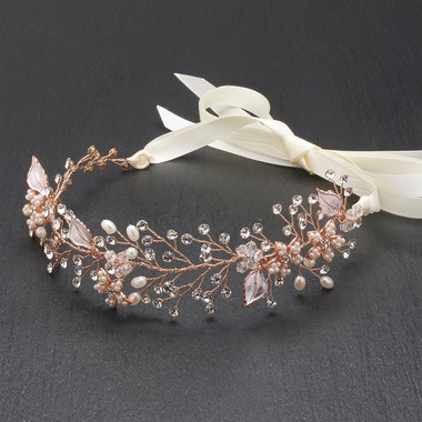 Mariell - Rose Gold Bridal Headband with Hand Painted Gold and Silver Leaves  4384HB-I-G