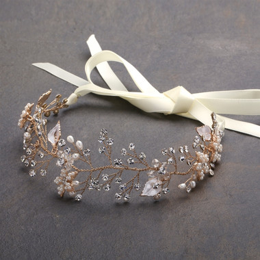 Mariell - Gold Bridal Headband with Hand Painted Gold and Silver Leaves 4384HB-I-G
